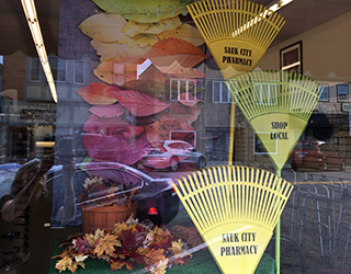 window displays Sauk city pharmacy